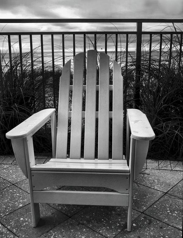 Beach Chair Print featuring the photograph Poolside And Gulfside by Julie Dant
