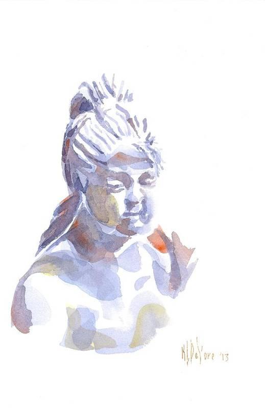 Porcelain Maiden In Watercolor Print featuring the painting Porcelain Maiden In Watercolor by Kip DeVore