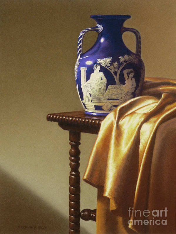 Still Life Print featuring the painting Portland Vase With Cloth by Barbara Groff