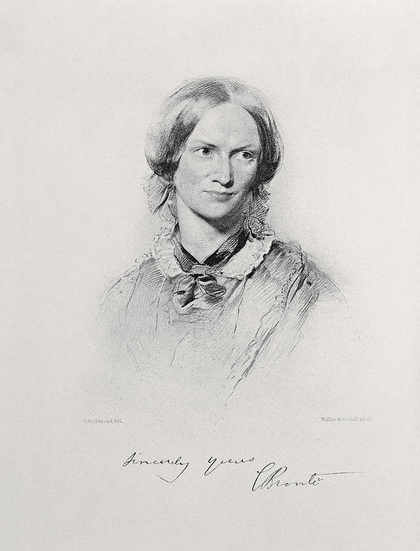 Charlotte Bronte Print featuring the drawing Portrait Of Charlotte Bronte, Engraved by George Richmond