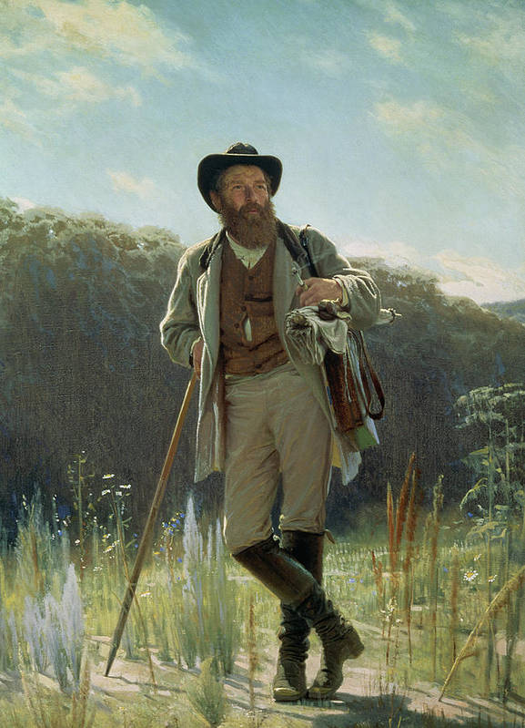 Male Print featuring the painting Portrait Of Ivan Ivanovich Shishkin by Ivan Nikolaevich Kramskoy