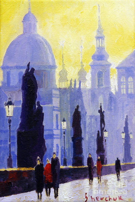 Oil On Canvas Print featuring the painting Prague Charles Bridge 03 by Yuriy Shevchuk