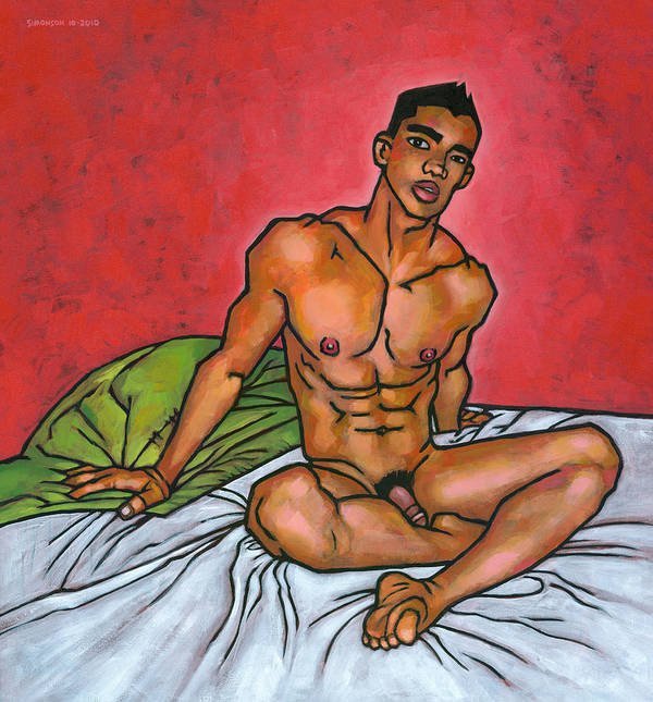 Male Nude Print featuring the painting Presence by Douglas Simonson