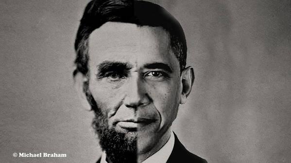 President Barack Obama Print featuring the digital art President Obama Meets President Lincoln by Doc Braham