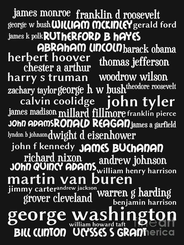 George Washington Print featuring the digital art Presidents Of The United States 20130625bw by Wingsdomain Art and Photography