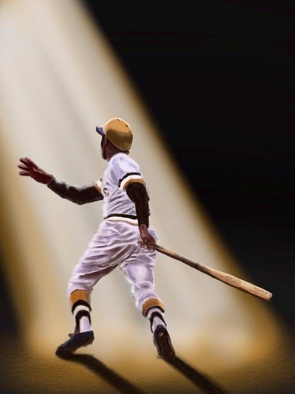 Roberto Clemente Print featuring the digital art Pride Of Puerto Rico by Jeremy Nash