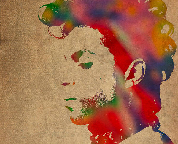 Prince Print featuring the photograph Prince Watercolor Portrait On Worn Distressed Canvas by Design Turnpike