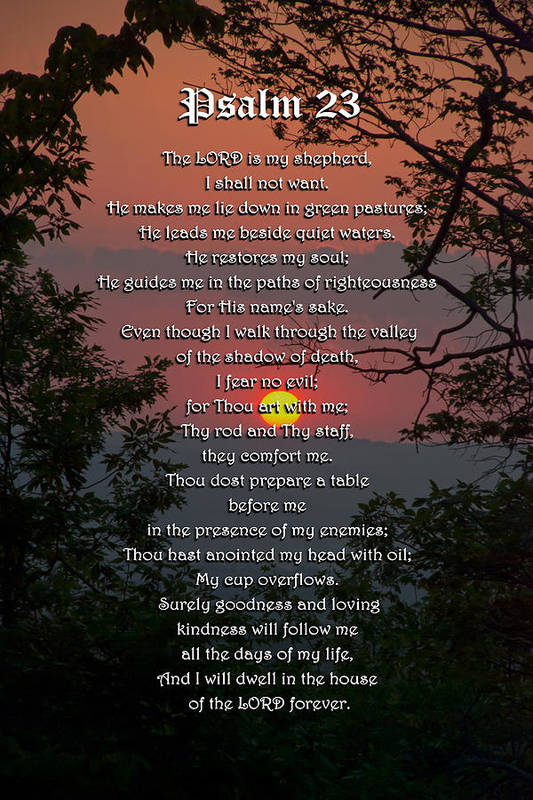 Psalm 23 Print featuring the digital art Psalm 23 Prayer Over Sunset Landscape by Christina Rollo