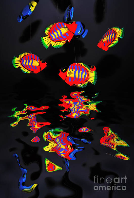 Photography Print featuring the photograph Psychedelic Flying Fish With Psychedelic Reflections by Kaye Menner