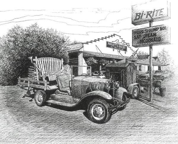 Leipers Fork Print featuring the drawing Puckett's Grocery And Restuarant by Janet King