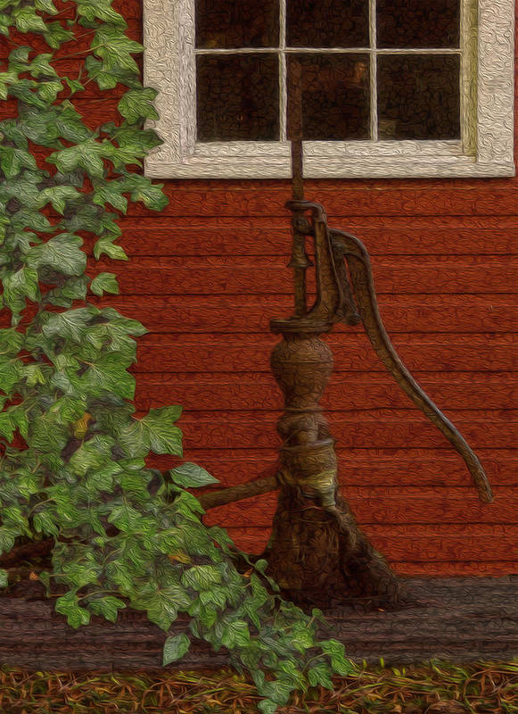 Landscape Print featuring the painting Pump by Jack Zulli