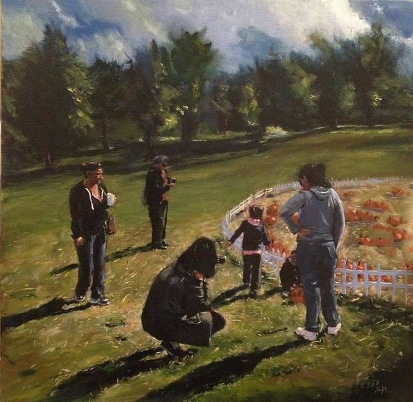 Harvest Festival Print featuring the painting Pumpkin Picking by Victor SOTO