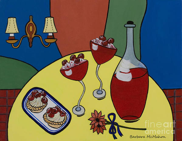 Cafe Art Print featuring the painting Raspberry Wine by Barbara McMahon