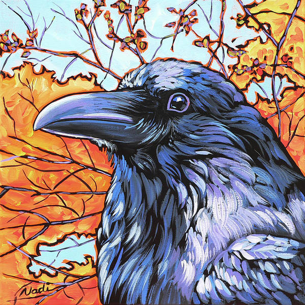 Raven Print featuring the painting Raven Head by Nadi Spencer