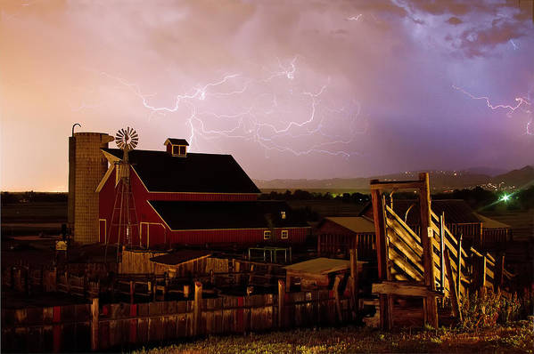 Lightning Print featuring the photograph Red Barn On The Farm And Lightning Thunderstorm by James BO Insogna