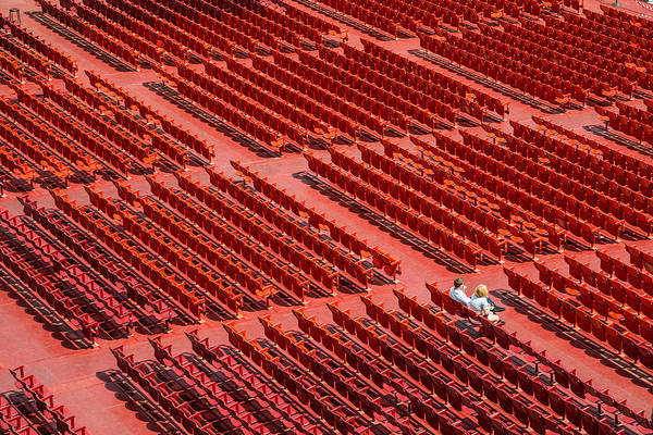 Open-air Theater Print featuring the photograph Red Chairs by Dobromir Dobrinov