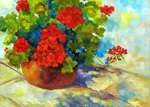 Geraniums Print featuring the painting Red Geraniums I by Peggy Wilson