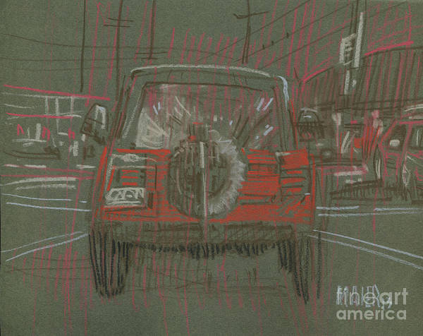 Jeep Print featuring the drawing Red Jeep by Donald Maier