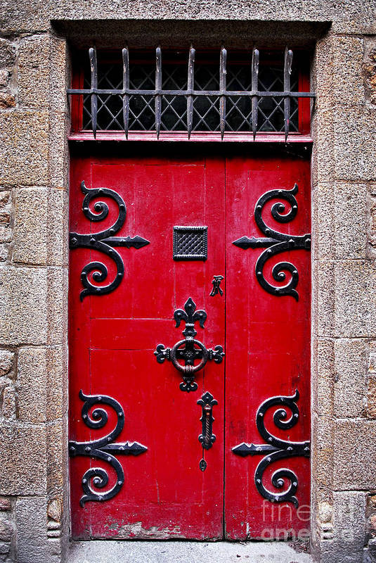 Mont Print featuring the photograph Red Medieval Door by Elena Elisseeva
