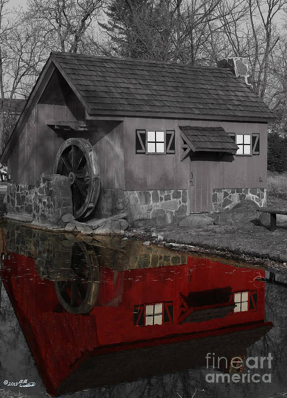 Colorkey Print featuring the photograph Reflection Of Red Mill by Bill Woodstock