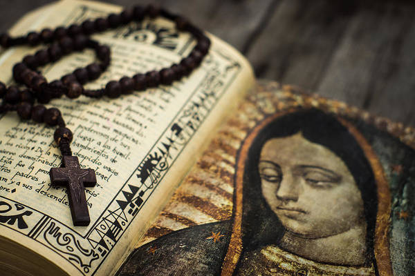 Rosary Print featuring the photograph Religious Concept by Aged Pixel