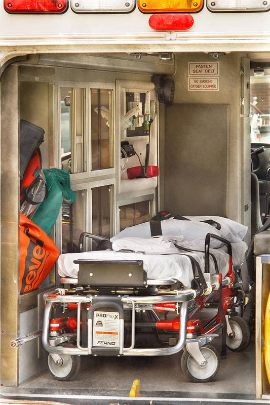 Savad Print featuring the photograph Rescue - Inside The Ambulance by Mike Savad