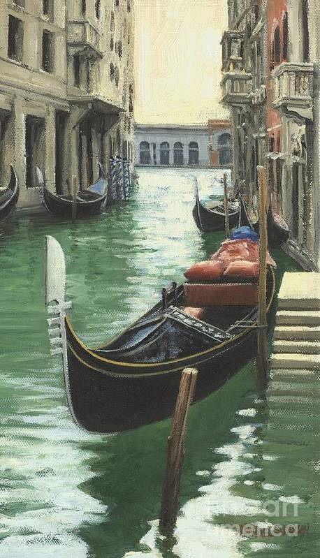 Venice Print featuring the painting Resting Gondola by Michael Swanson