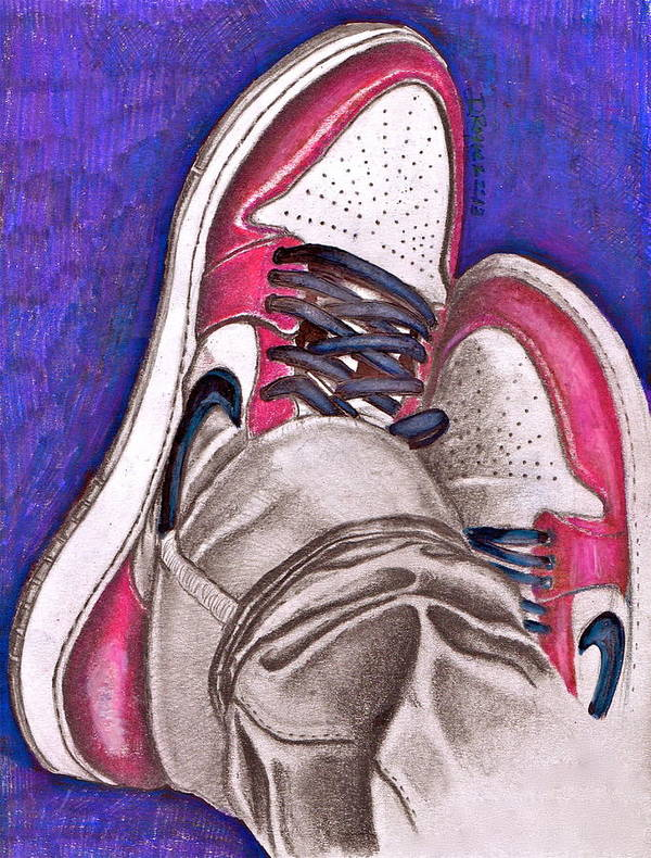 Air Print featuring the drawing Retro 1.2 by Dallas Roquemore