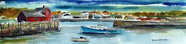 Rockport Print featuring the painting Rockport Harbor by Scott Nelson