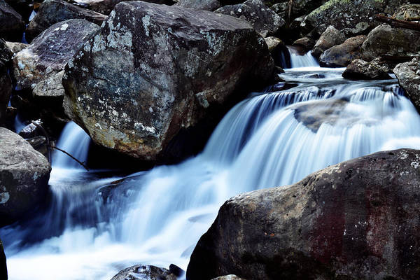 Waterfall Print featuring the photograph Rocks And Waterfall by Adam LeCroy
