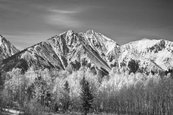 Autumn Print featuring the photograph Rocky Mountain Autumn High In Black And White by James BO Insogna