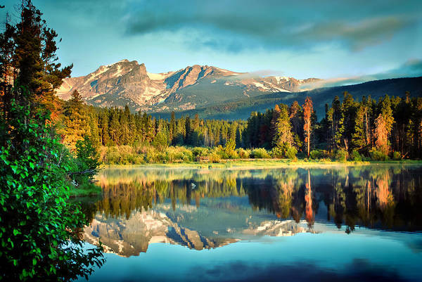 Lake Print featuring the photograph Rocky Mountain Morning by Gregory Ballos