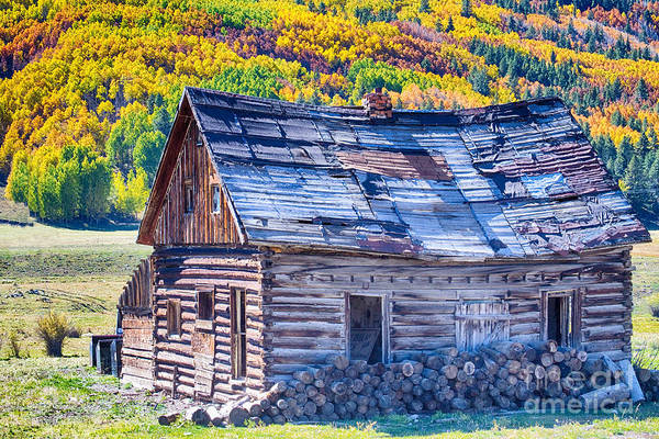 Autumn Print featuring the photograph Rocky Mountain Rural Rustic Cabin Autumn View by James BO Insogna