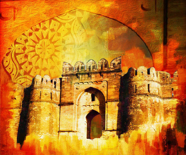 Pakistan Print featuring the painting Rohtas Fort 00 by Catf