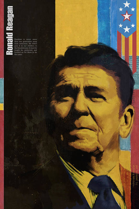 Ronald Reagan Print featuring the painting Ronald Reagan by Corporate Art Task Force