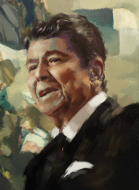 Rancho Del Cielo Print featuring the painting Ronald Reagan Portrait 5 by Corporate Art Task Force
