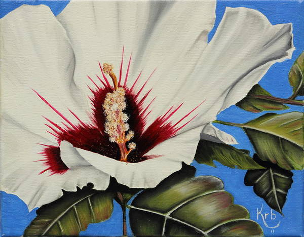 Flower Print featuring the painting Rose Of Sharon by Karen Beasley