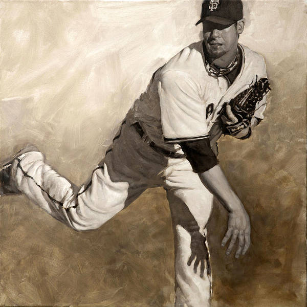 Ryan Vogelsong Print featuring the painting Ryan Vogelsong Perseverence by Darren Kerr