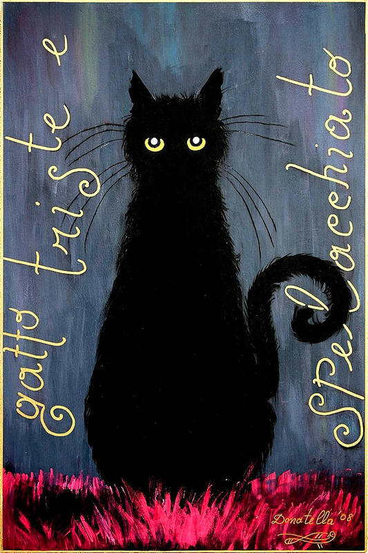 Cat Print featuring the painting Sad And Ruffled Cat by Donatella Muggianu