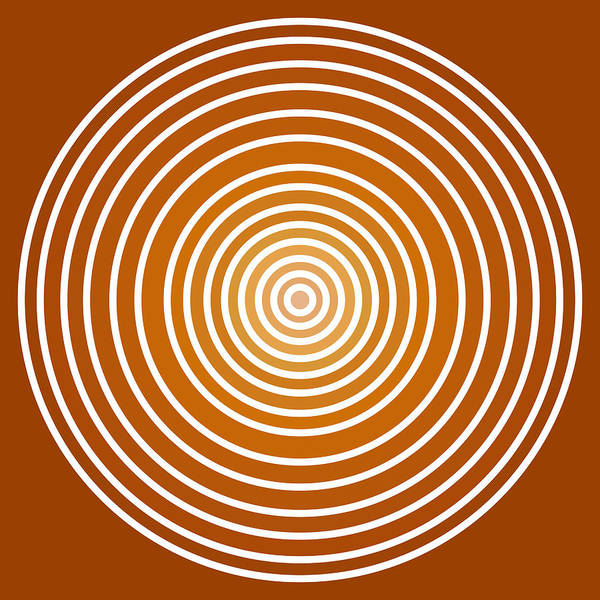Frank Tschakert Print featuring the painting Saffron Colored Abstract Circles by Frank Tschakert
