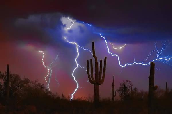 Saguaro Print featuring the photograph Saguaro Lightning Nature Fine Art Photograph by James BO Insogna