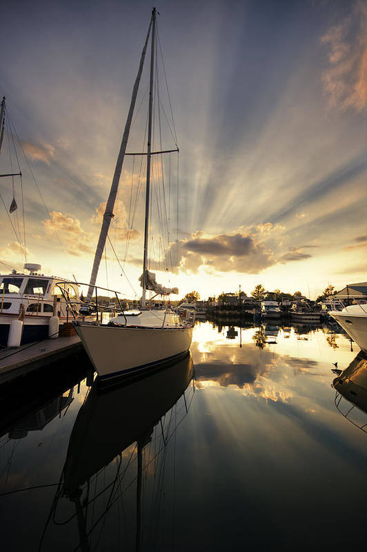 Sailboat Print featuring the photograph Sailed In by Alexey Stiop