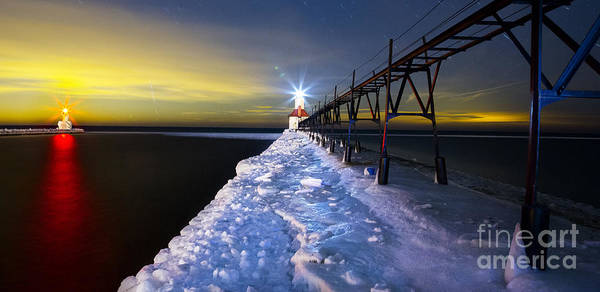 Winter Print featuring the photograph Saint Joseph Pier And Light by Twenty Two North Photography