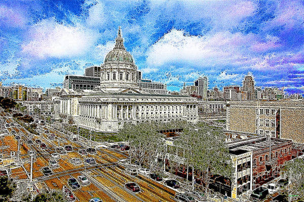San Francisco Print featuring the photograph San Francisco City Hall 5d22507 Photoart by Wingsdomain Art and Photography