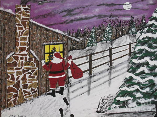 Santa Claus Print featuring the painting Santa Claus Is Watching by Jeffrey Koss