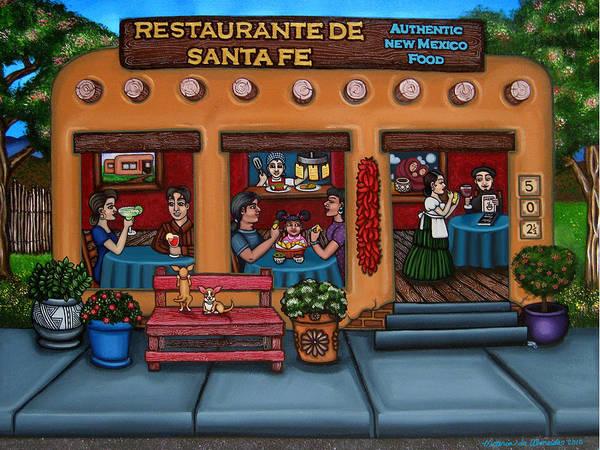 Folk Art Print featuring the painting Santa Fe Restaurant by Victoria De Almeida