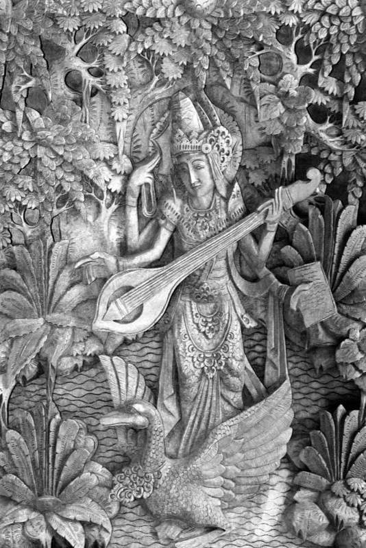 Saraswati Print featuring the photograph Saraswati - Supreme Goddess by Karon Melillo DeVega