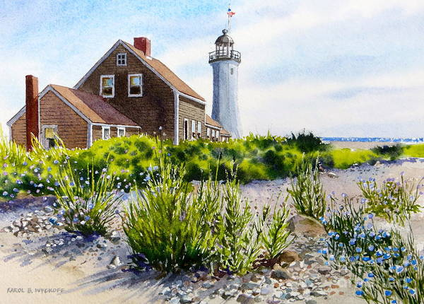Clouds Print featuring the painting Scituate Light By Day by Karol Wyckoff