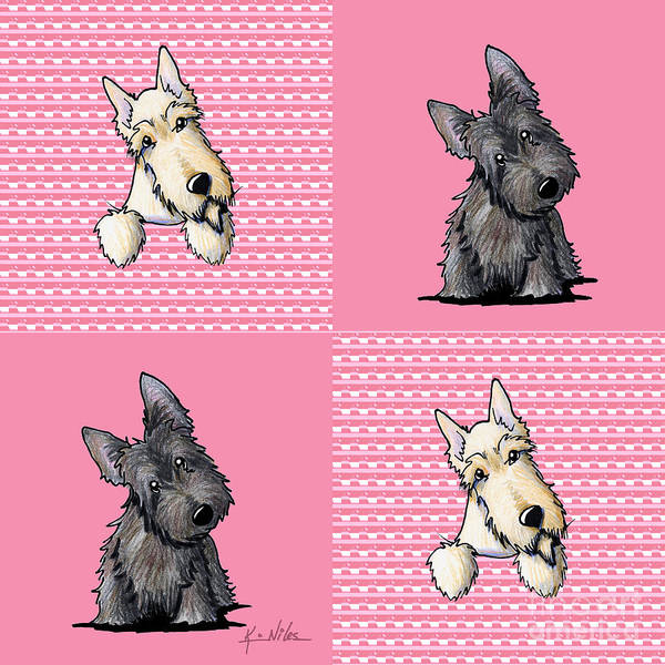 Scottie Print featuring the drawing Scottish Quilt by Kim Niles