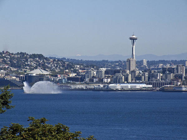 Seattle Print featuring the photograph Seattle Space Needle And Fire Boat by Ron Roberts